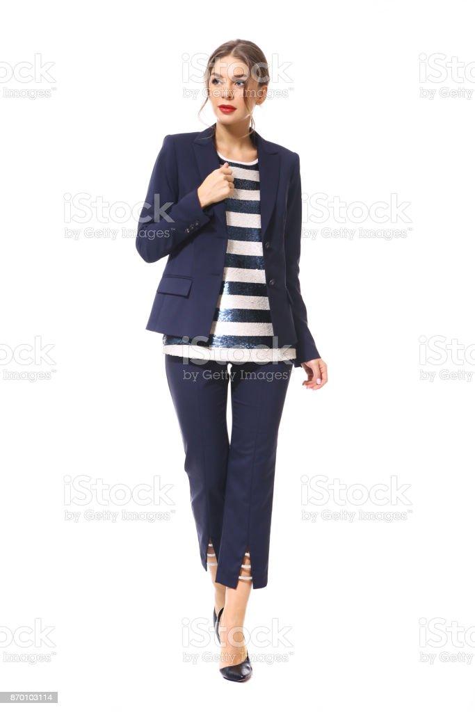24c214263 mujer de negocios en ropa formal aislado en blanco foto de stock libre de  derechos