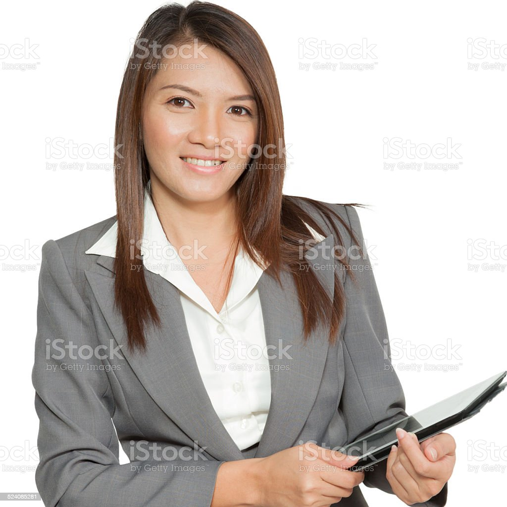 Business woman in office  gesture attractive young pretty using stock photo