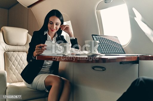 istock Business woman in private jet 1210052877