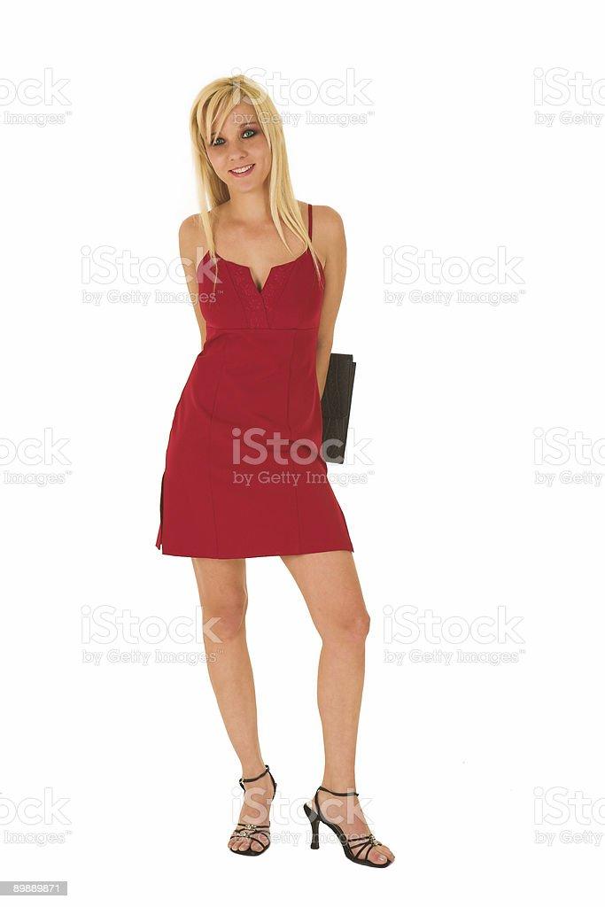 Mujer de negocios en rojo foto de stock libre de derechos