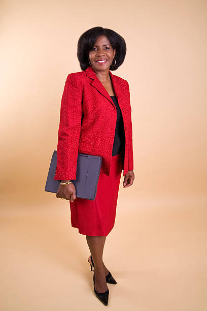 Business Woman in Red Suit stock photo