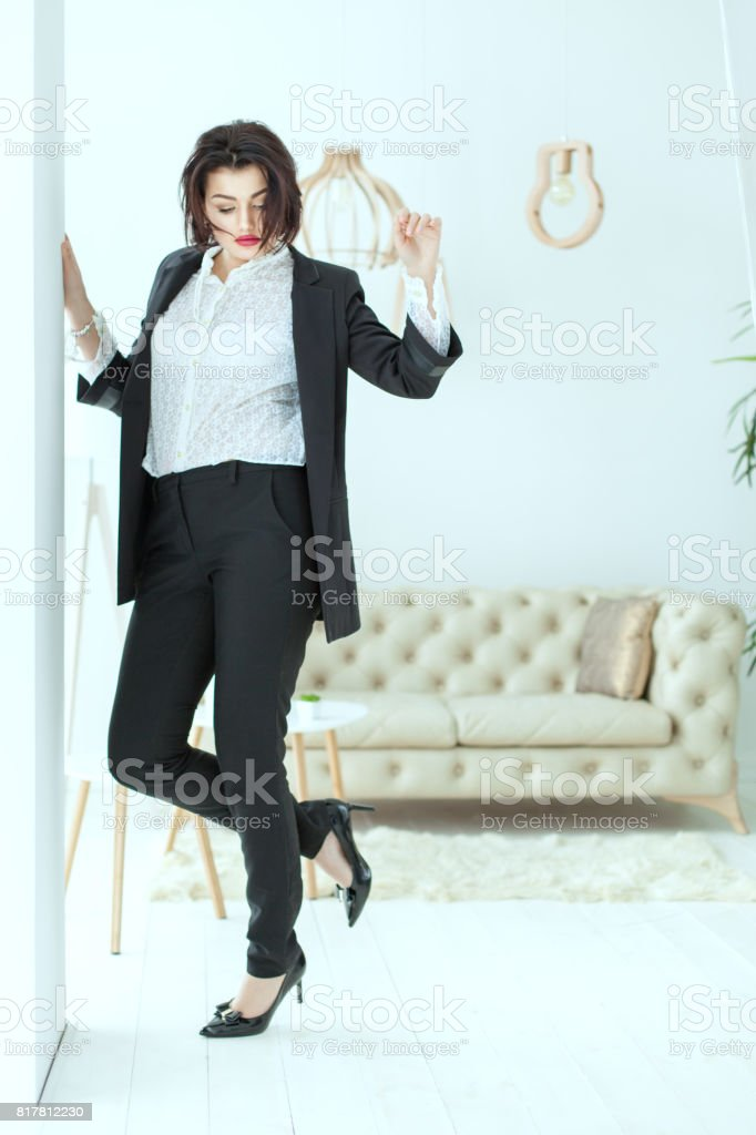 Business woman is dancing. stock photo
