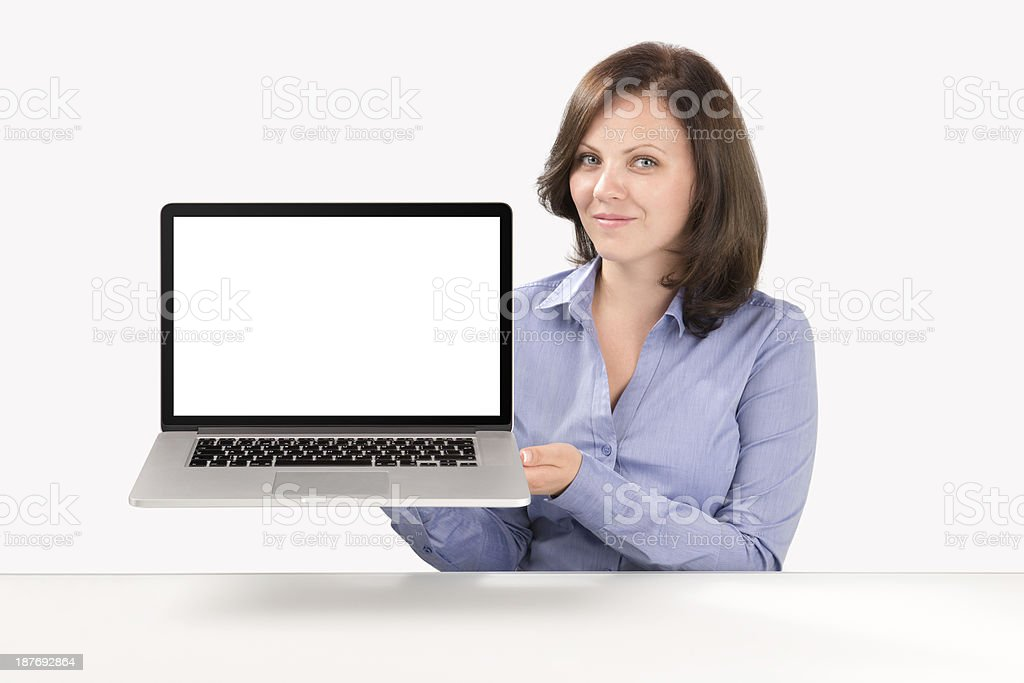 Business woman is holding laptop stock photo