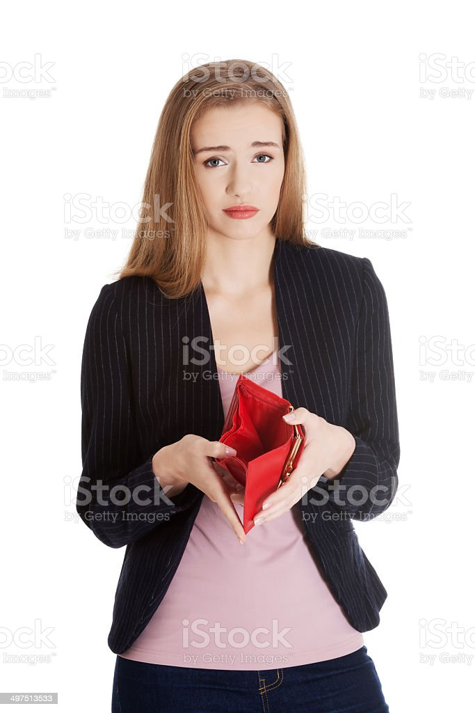 Business woman is showing her empty wallet. stock photo