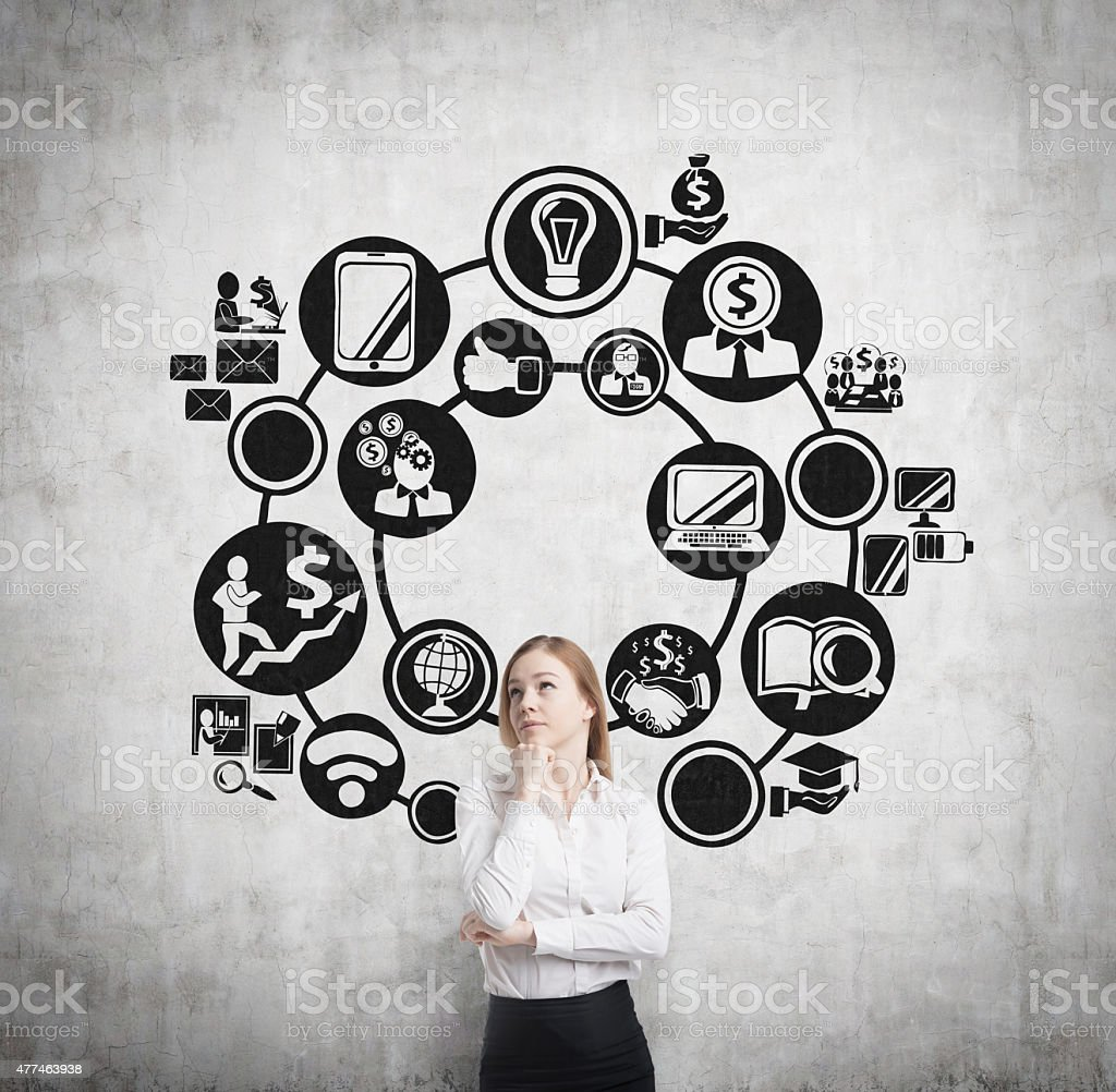 business woman is thinking about business management process stock photo