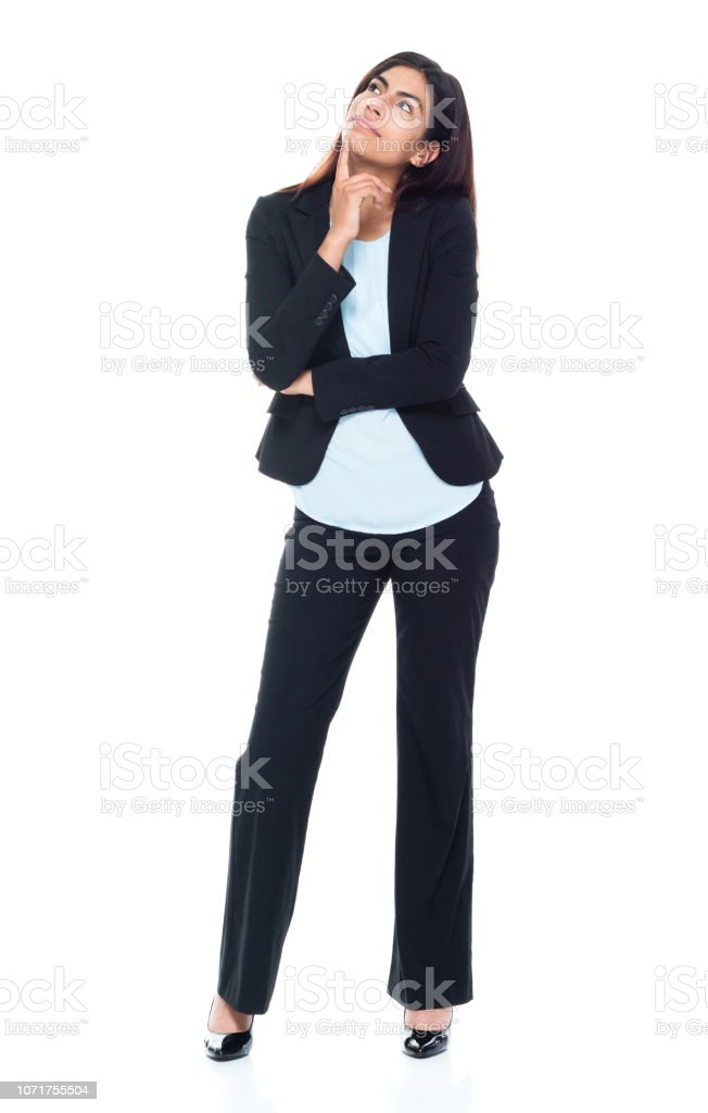 Business woman is thinking stock photo