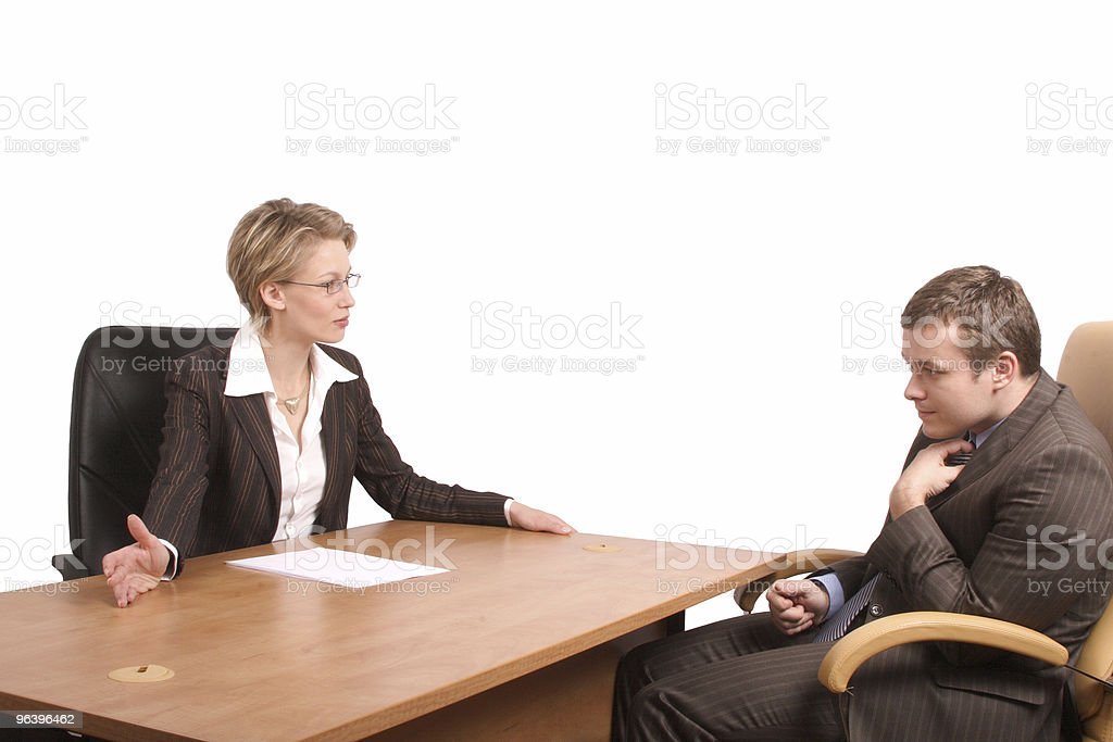 business woman, junior man talk - reprimand - Royalty-free Above Stock Photo
