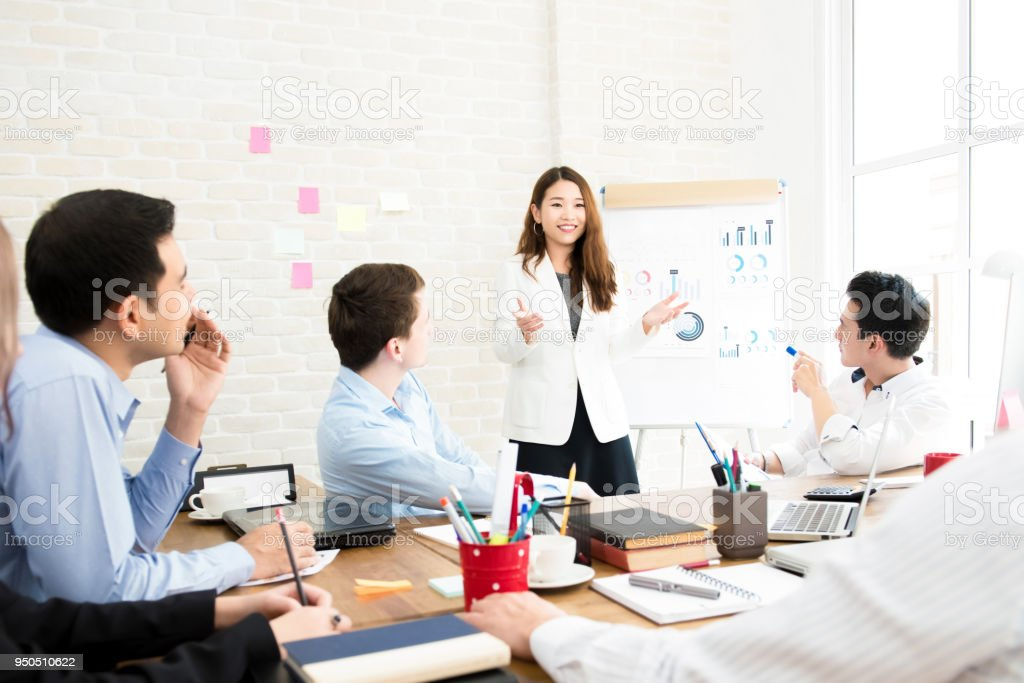 Business Woman Leader Conducting Company Sales Presentation