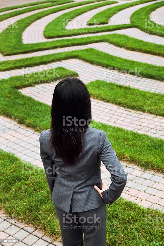 Business Woman Looking at Employment Maze of Complexity, Strategy, Confusion royalty-free stock photo