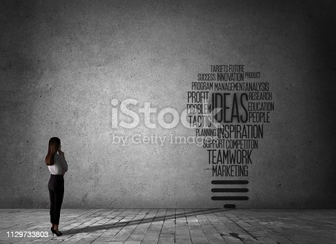 istock Business woman looking draw text idea bulb light 1129733803