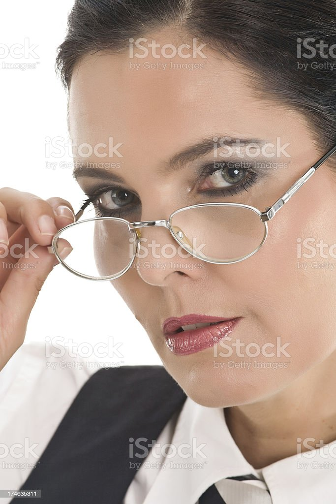 Business woman looking through glasses royalty-free stock photo