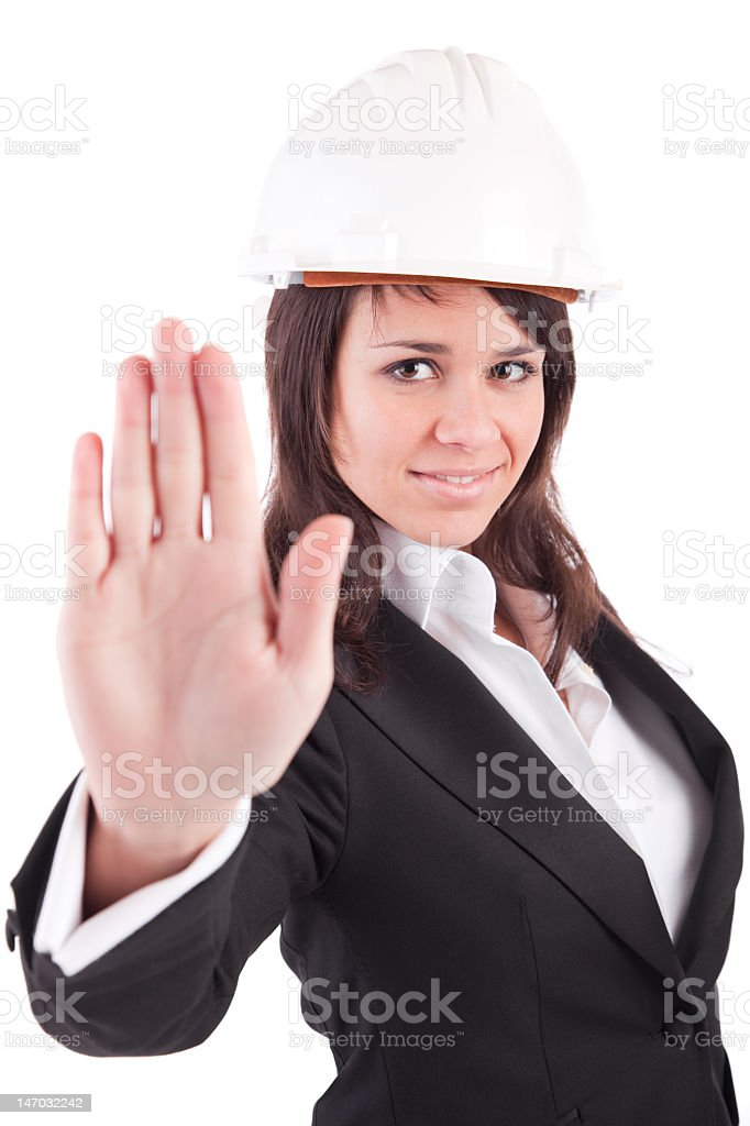 Business woman, making stop sign stock photo