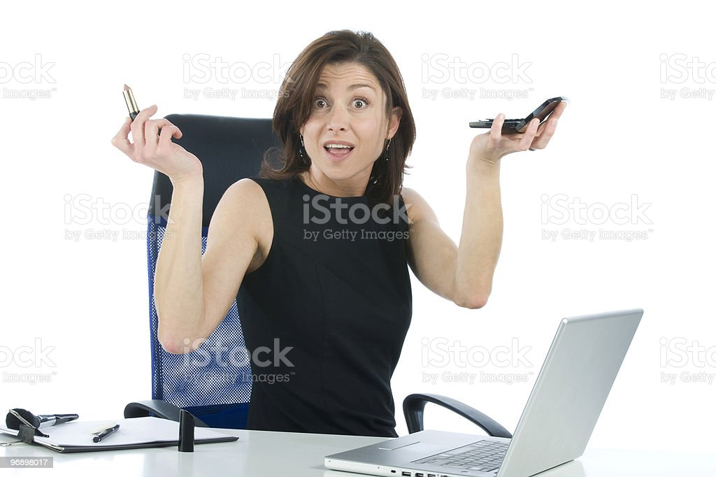 business woman making up on white background royalty-free stock photo