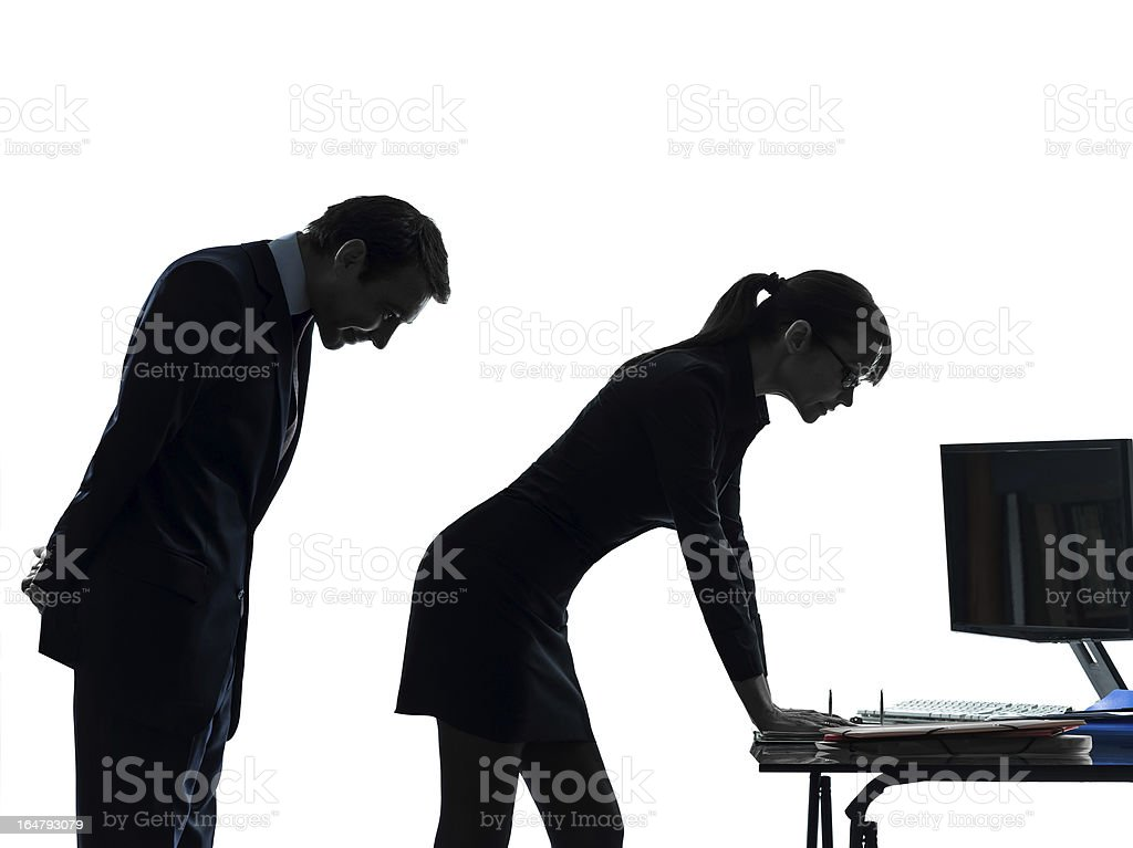 business woman man couple sexual harassment silhouette royalty-free stock photo