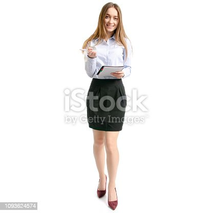 1176252245 istock photo Business woman manager with notepad and pen thinking 1093624574