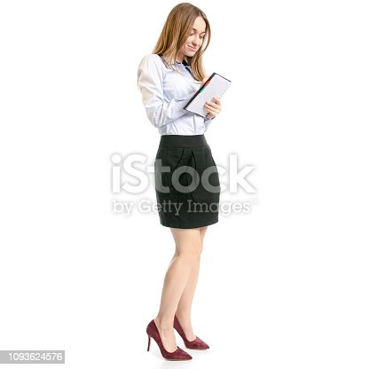 1176252245 istock photo Business woman manager with notepad and pen thinking 1093624576