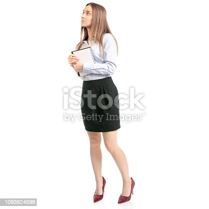 1176252245 istock photo Business woman manager with notepad and pen thinking 1093624598