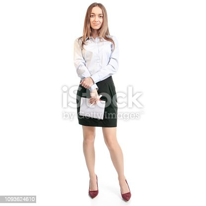 1176252245 istock photo Business woman manager with notepad and pen thinking 1093624610