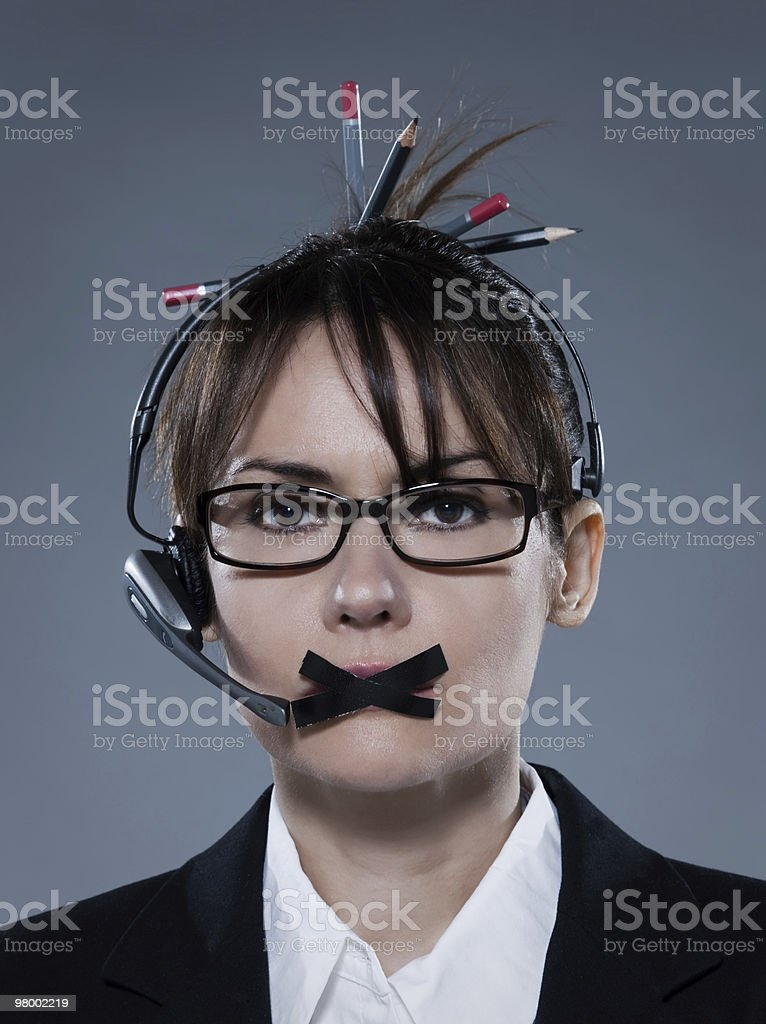 business woman muzzle phone royalty free stockfoto