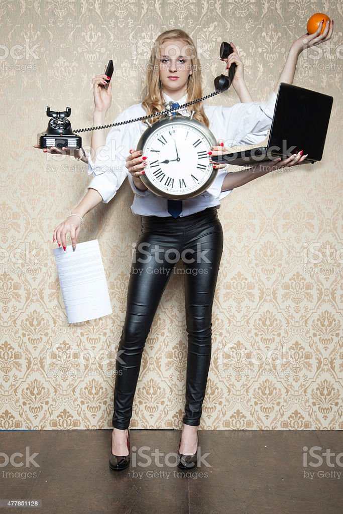 business woman of special tasks stock photo