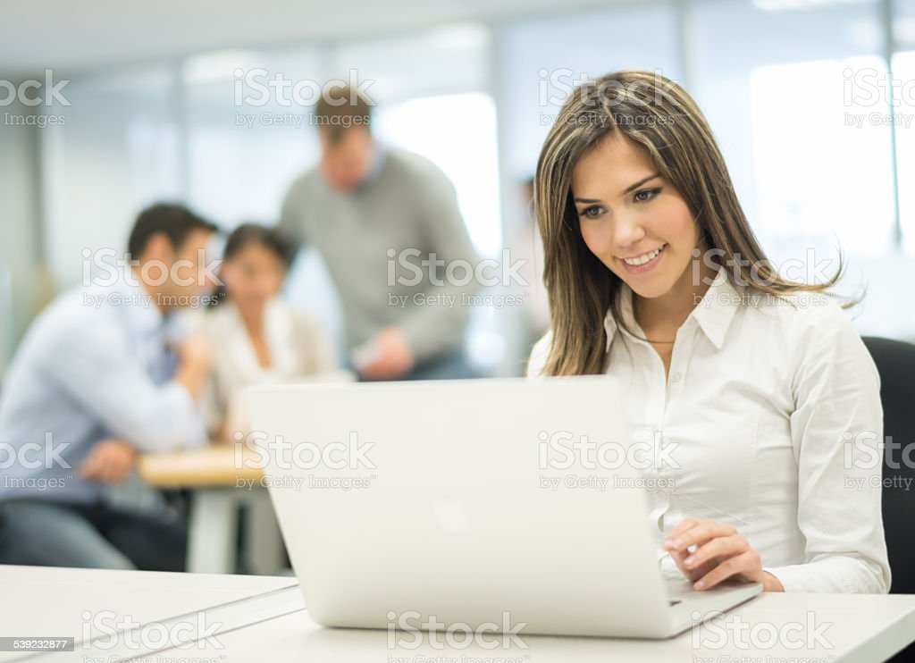 Business woman on a laptop royalty-free stock photo