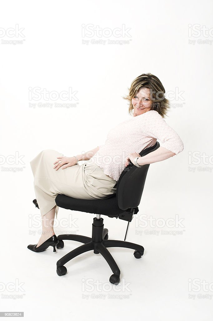 business woman on chair stock photo