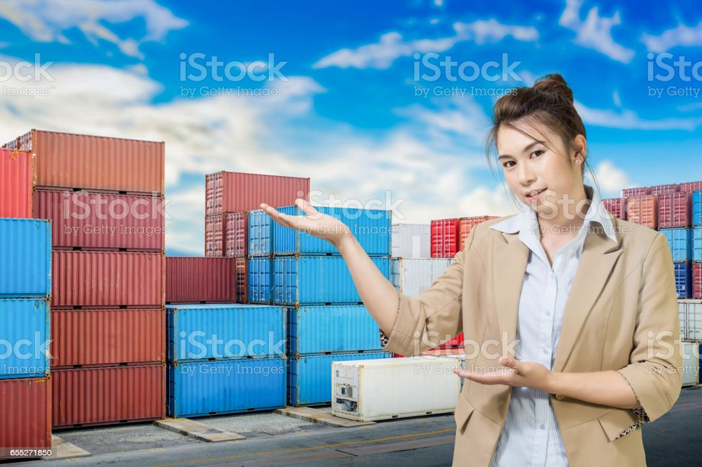 business woman on industrial port stock photo