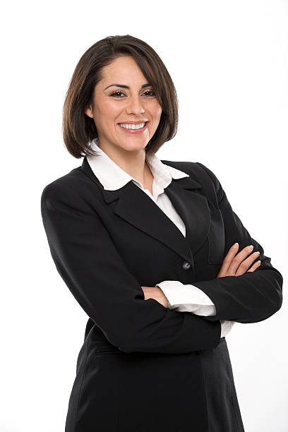 business woman on white - woman suit stock photos and pictures