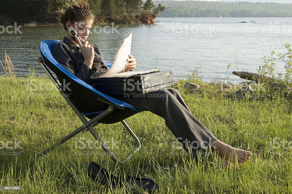 Business Woman Outdoors by Lake royalty-free stock photo