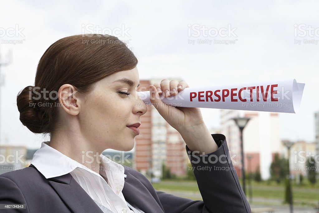 Business woman. 'Perspective' concept. royalty-free stock photo