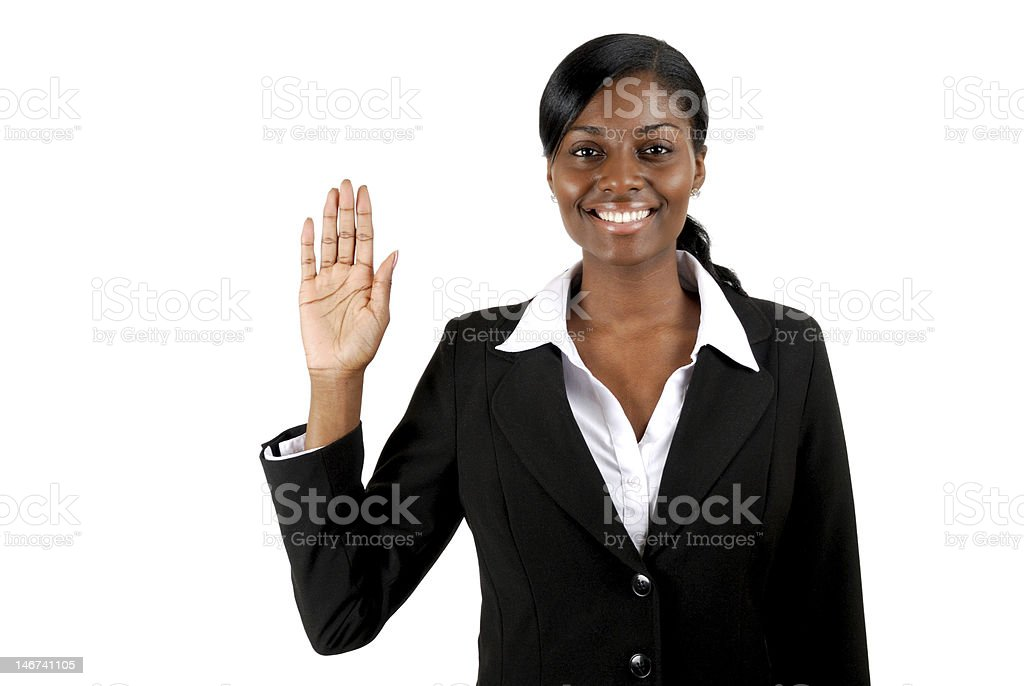 Business woman pledging royalty-free stock photo