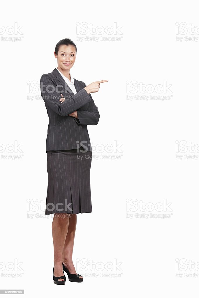 Business woman pointing at copyspace royalty-free stock photo
