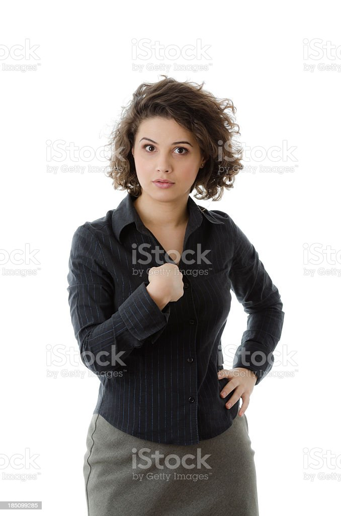 Business woman pointing at herself, isolated on white royalty-free stock photo