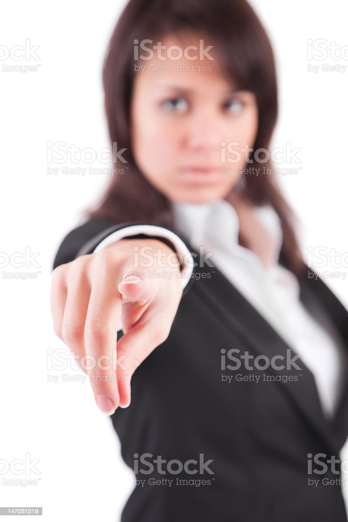 Business woman, pointing forward stock photo