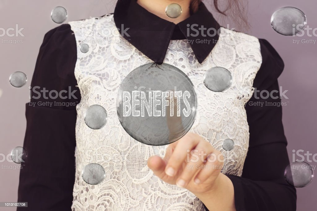business woman pointing her finger to benefits bubble stock photo