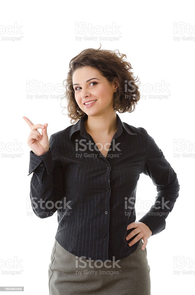 Business woman pointing upward, isolated on white royalty-free stock photo