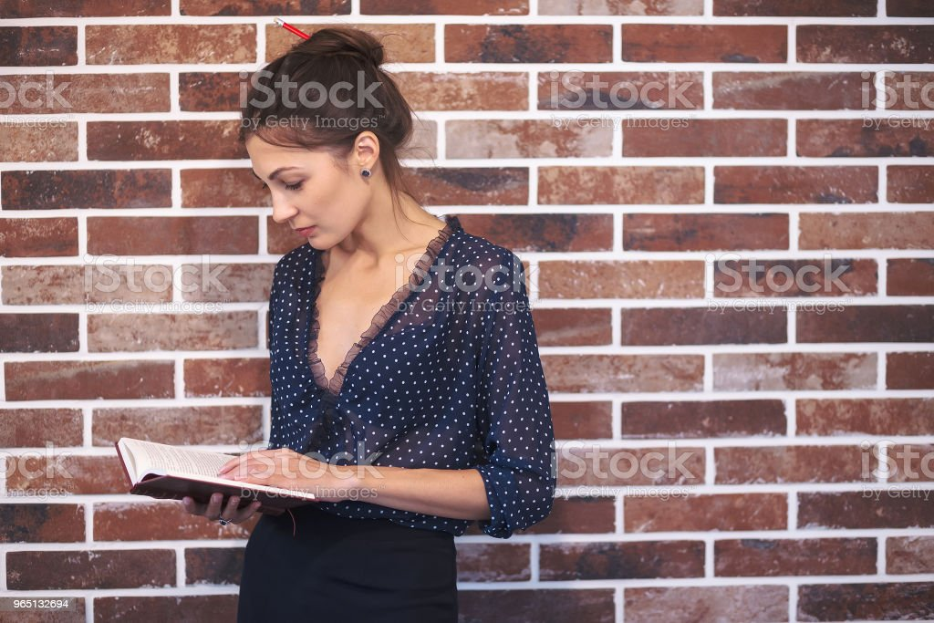 Business woman portrait reading a book royalty-free stock photo