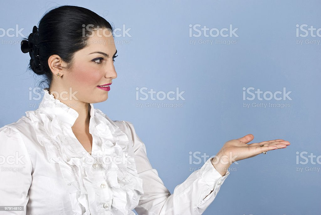 Business woman presentation to copyspace royalty-free stock photo