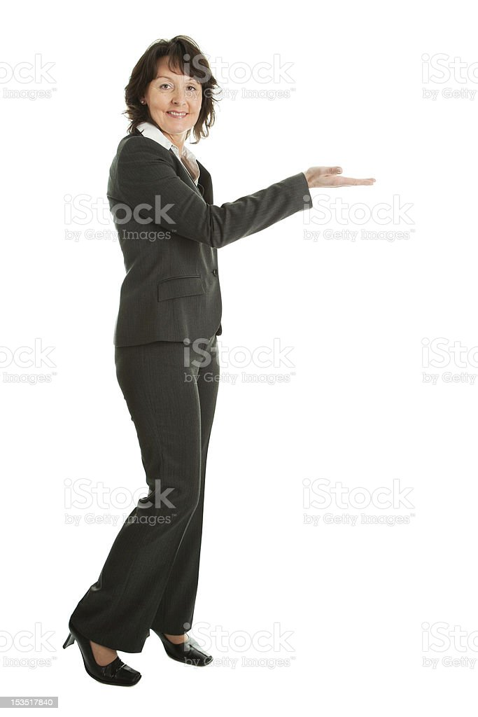 Business woman preseting a product royalty-free stock photo
