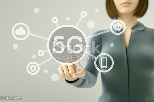 515789546 istock photo Business woman pressing button on touch screen, 5G concept 1211713967