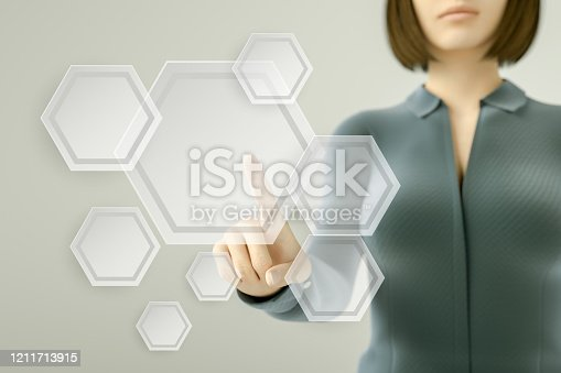 515789546 istock photo Business woman pressing button on touch screen 1211713915