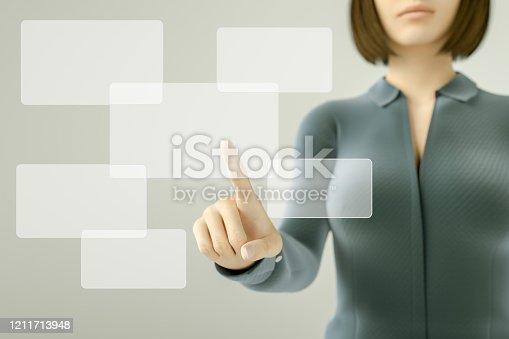 515789546 istock photo Business woman pressing button on touch screen 1211713948
