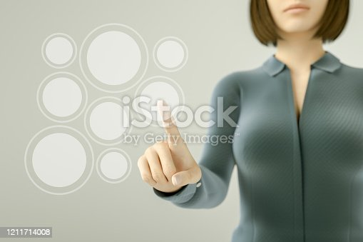 515789546 istock photo Business woman pressing button on touch screen 1211714008