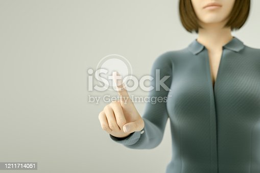 515789546 istock photo Business woman pressing button on touch screen 1211714051