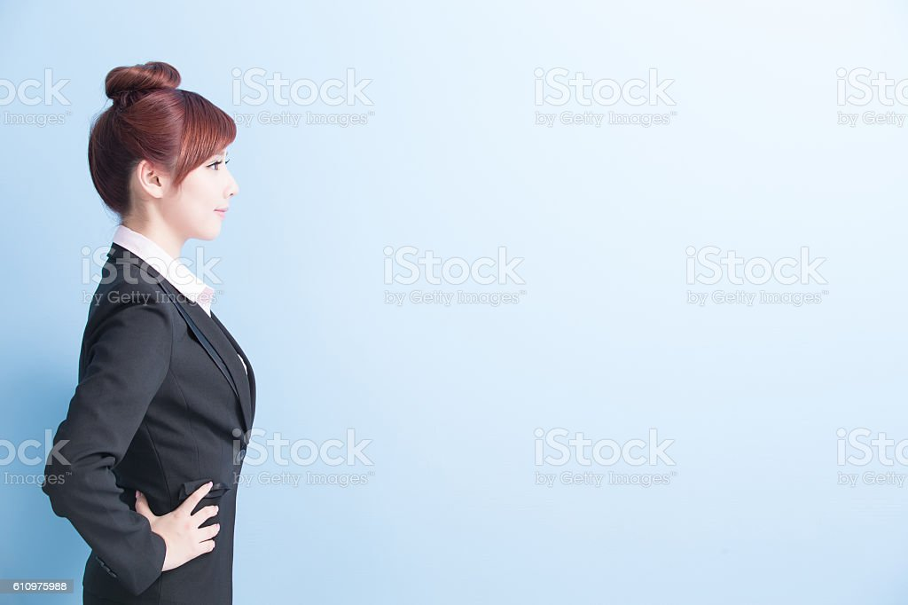business woman profile to you stock photo