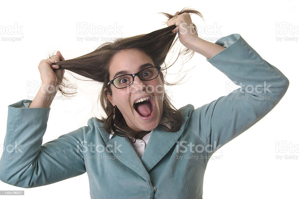 Business woman pulling her hair royalty-free stock photo