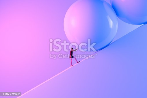 3d rendering of a strong woman pushing a big rock up the hill to reach the goal on top.