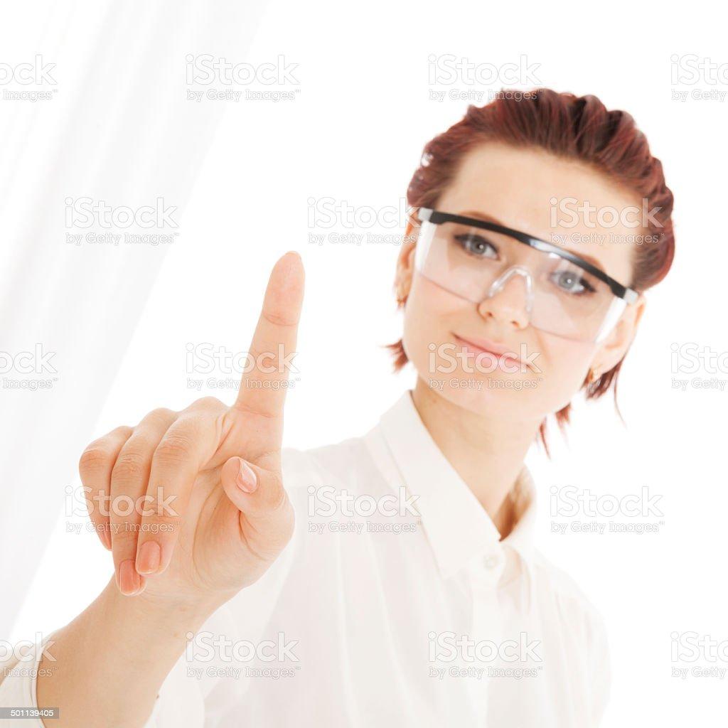 Business woman pushing on whiteboard royalty-free stock photo
