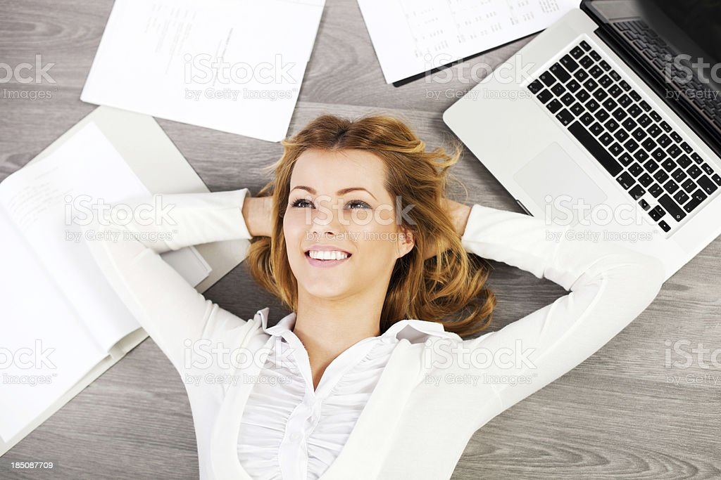 Business woman relaxing. stock photo