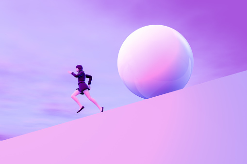istock Business woman running away from problems 1157757025